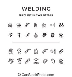 Set icons of welding in two styles isolated on white. Vector...