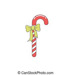 Christmas Candy with Green Bow Isolated - Christmas Red...