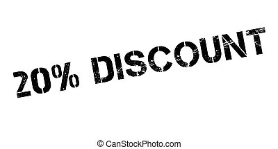 20 percent discount rubber stamp on white. Print, impress,...