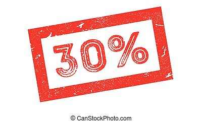 30 percent rubber stamp on white. Print, impress, overprint.