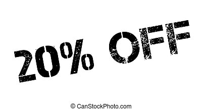 20 percent off rubber stamp on white Print, impress,...
