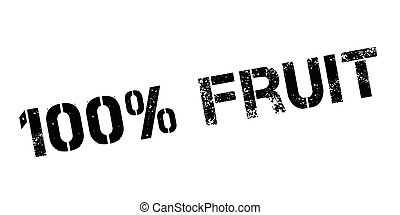 100 percent fruit rubber stamp on white. Print, impress,...