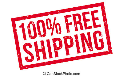 100 percent free shipping rubber stamp on white. Print,...