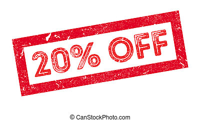 20 percent off rubber stamp on white. Print, impress,...