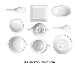 collection of white kitchen ware