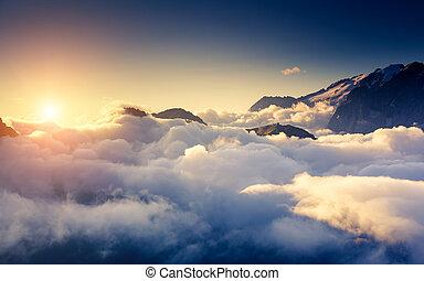 Italian dolomites - Great view of the foggy Val di Fassa...