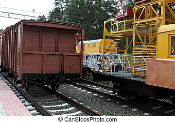 old style train in railroad