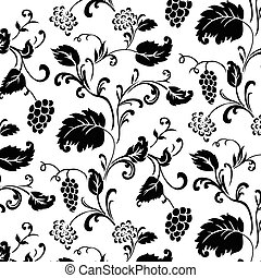 Vector Ivy Pattern - Vector grape pattern Seamless tile...