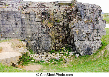 Ruins of German Bunker, Normandy - Damage inflicted on...