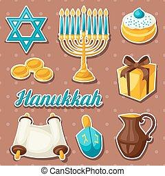 Set of Jewish Hanukkah celebration sticker objects and...