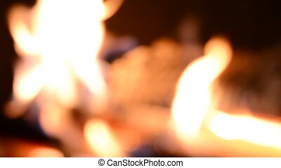 Blurred burning flames or fire in fireplace Suitable for use...