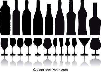 wine bottles and glasses, vector - set of wine glass and...