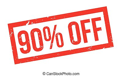 90 percent off rubber stamp on white. Print, impress,...