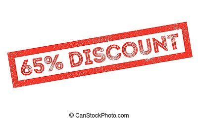 65 percent discount rubber stamp on white. Print, impress,...