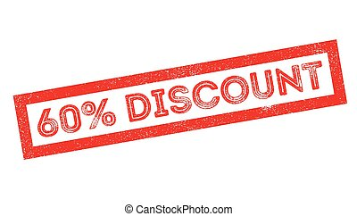 60 percent discount rubber stamp on white. Print, impress,...