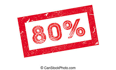80 percent rubber stamp on white. Print, impress, overprint.