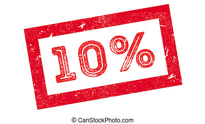 10 percent rubber stamp on white. Print, impress, overprint.