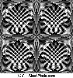 Seamless meshy op art pattern. 3D illusion. Vector...