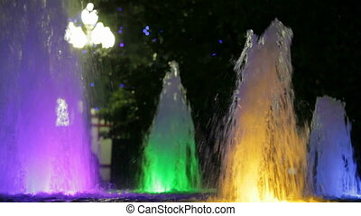 Fountains with color backlight