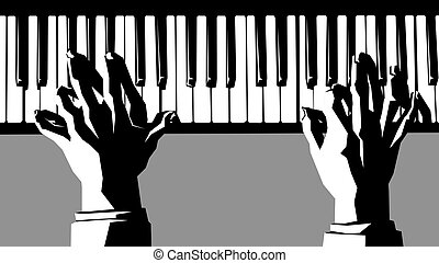 Hands playing the piano. - Simple vector black and white...