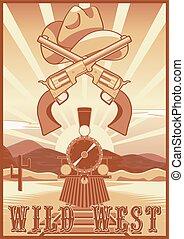 Wild west vintage card or poster with desert landscape,...