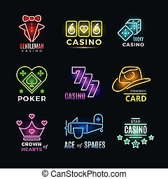 Neon light poker club and casino vector signs set. Fortune...