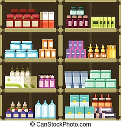 Pharmacy shelves with pills and drugs medicine boxes vector seamless pattern