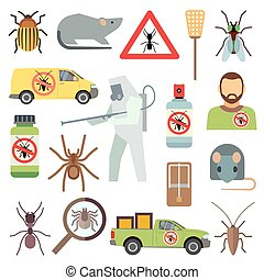 Home pest control service flat vector icons set