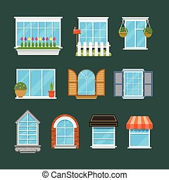 Windows with window sills curtains flowers balconies flat vector set