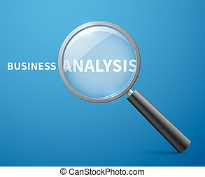 Business analysis vector concept background with magnifying...