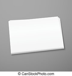 Blank newspaper mockup isolated on gray background....