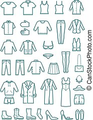 Mens and womens clothes thin line vector icons
