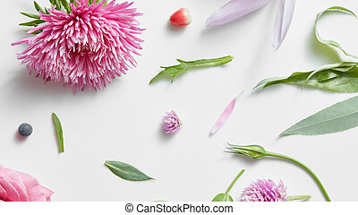 Photo collage for floral design. - Realistic floral pattern...