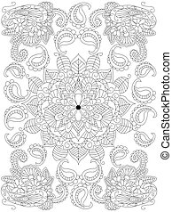 Mandala flower coloring vector for adults - Mandala flower...