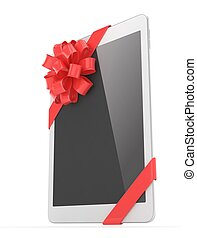 White tablet with bow. 3D rendering. - White tablet with red...