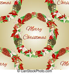 Seamless texture Merry Christmas wreath with pine cones...