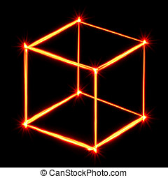 red light painting necker cube on black background