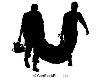 Corpsman on white - Modern soldiers in uniform on a white...