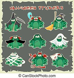 Halloween stickers green toads fashion costume outfits....