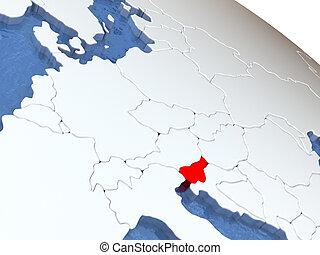 Slovenia on globe - Map of Slovenia on globe with metallic...