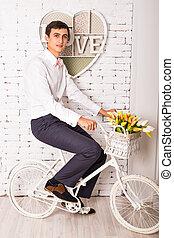 面白い, 屋内, 自転車, 人
