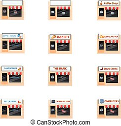 Various small shops or stores - Vector illustration of...