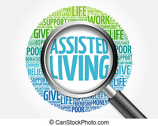 Assisted Living word cloud with magnifying glass, business...