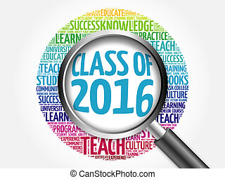 CLASS OF 2016 word cloud with magnifying glass, concept 3D...