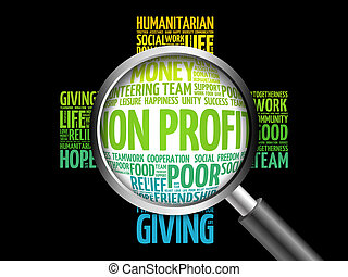 Non Profit word cloud with magnifying glass, cross concept...