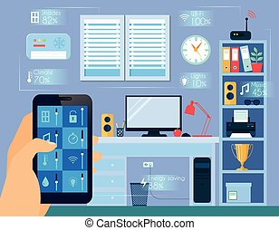 Smart Home Concept Illustration - Smart home concept with...