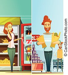 Supermarket Shopping Vertical Retro Banners - Supermarket...