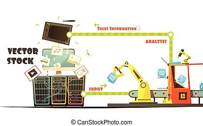 Microstock Market Working Concept Cartoon Schema -...