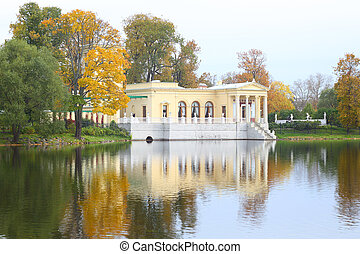 Tsaritsyn Pavilion, Peterhof, Russia and pond at autumn time