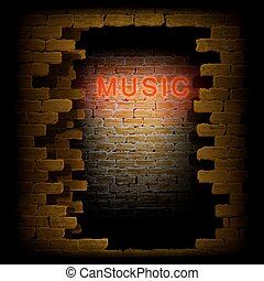 music neon light in the doorway of brick wall uno